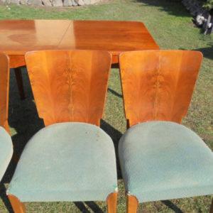 4 Stühle und Ausziehtisch von Jindrich Halabala  Art deco (4)