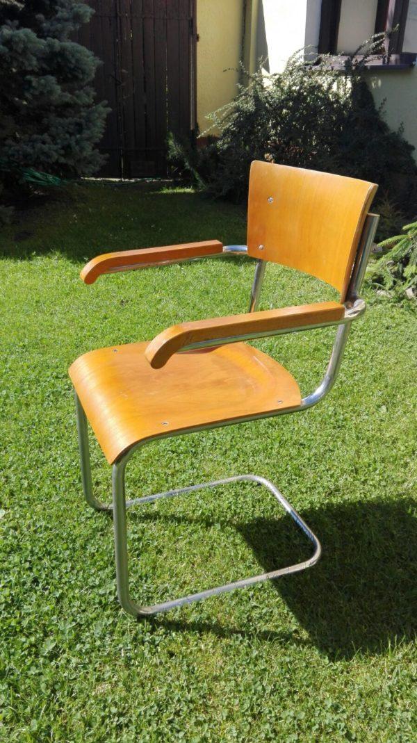 Stuhl Freischwinger Stahlrohrmöbel Armlehnenstuhl Bauhaus um 1930 (6)